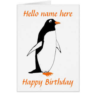 Penguin Birthday Card add name