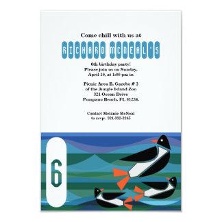 """penguin BIRTHDAY PARTY custom invitation 3.5"""" X 5"""" Invitation Card"""