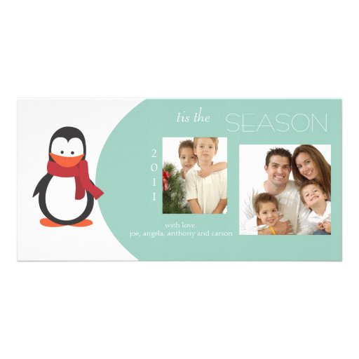 Penguin Blue Green Holiday Photo Card