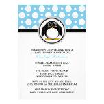 Penguin Blue Polka Dot Baby Shower Invitations