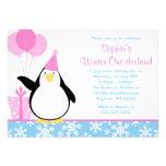 Penguin Blue Snowflakes Winter Onederland Birthday Invitation