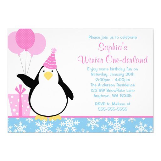 Penguin Blue Snowflakes Winter Onederland Birthday Invitation