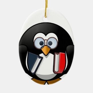 Penguin & Books student teacher reading bookworm Ceramic Ornament