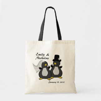 Penguin Bride and Groom Wedding Budget Tote Bag