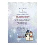 Penguin Bride and Groom Wedding Invitation 13 Cm X 18 Cm Invitation Card