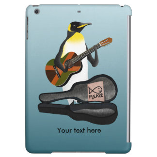 Penguin Busking With Jamaica Flag Guitar