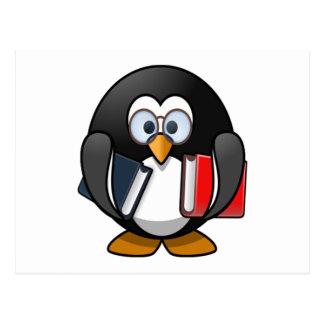 Penguin Carrying Books Postcard