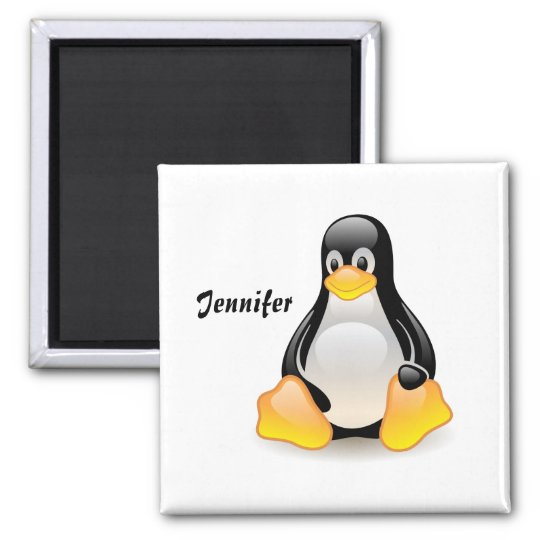 Penguin cartoon personalised, custom girls name magnet