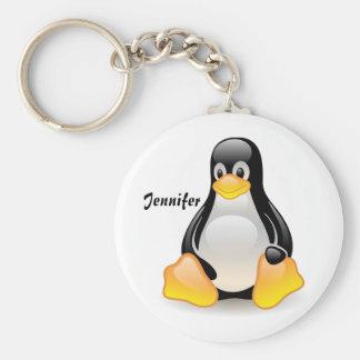 Penguin cartoon personalized custom girls name key ring