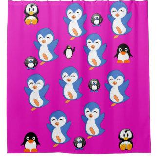 Penguin children's pink shower curtain
