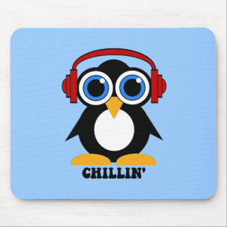 penguin chillin mouse pad