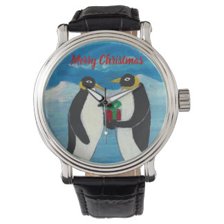 Penguin Christmas B Custom Black Vintage Leather Watch