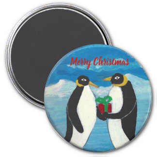 Penguin Christmas B Large, 3 Inch Round Magnet