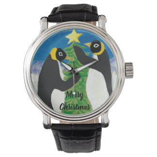 Penguin Christmas Custom Black Vintage Leather Watch