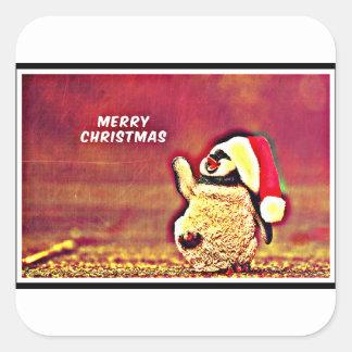 Penguin Christmas Greetings Square Sticker