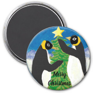 Penguin Christmas Large, 3 Inch Round Magnet