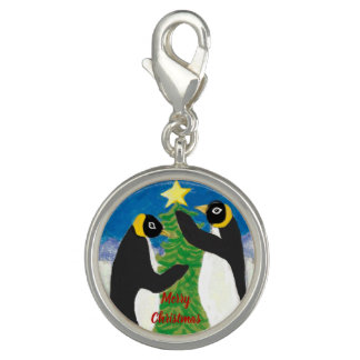 Penguin Christmas Round Charm, Silver Plated