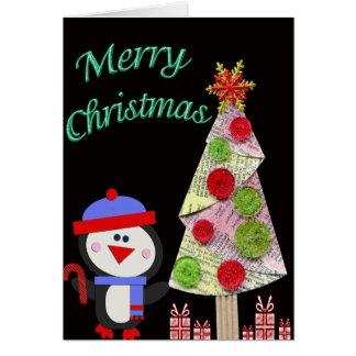 Penguin & Christmas Tree Merry Christmas Card