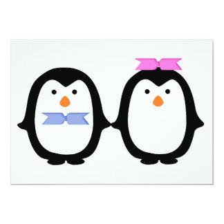 Penguin Couple 13 Cm X 18 Cm Invitation Card