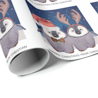Penguin Couple Cute Christmas Santa and Reindeer Wrapping Paper