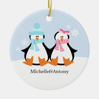 Penguin Couple Ornaments