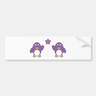 Penguin Couple with Star Bumper Stickers