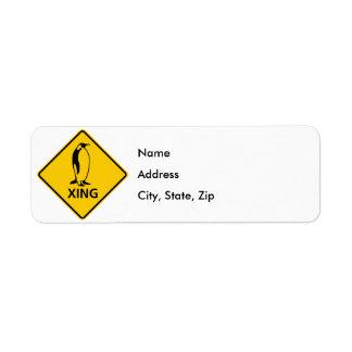 Penguin Crossing Highway Sign Return Address Label