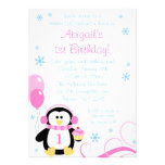 Penguin Cupcake Swirls Winter Onederland Pink Blue Personalised Announcement