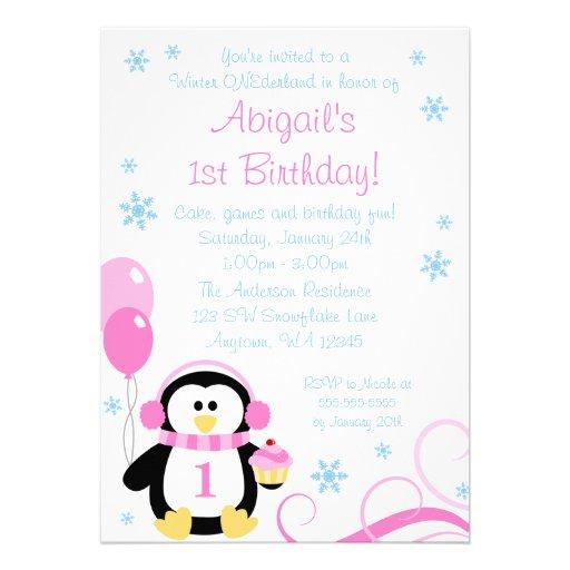 Penguin Cupcake Swirls Winter Onederland Pink Blue Invitation