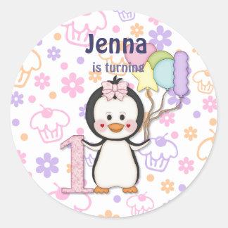 Penguin Cutie- Girl First Birthday Round Sticker