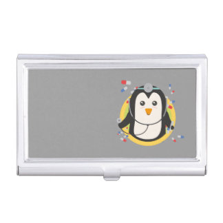 Penguin doctor in circle Z2j5l Business Card Holder