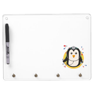 Penguin doctor in circle Z2j5l Dry Erase Board With Key Ring Holder