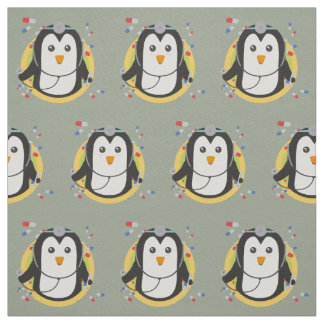 Penguin doctor in circle Z2j5l Fabric