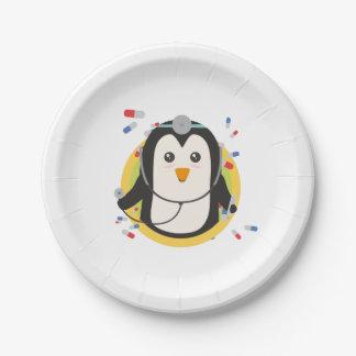 Penguin doctor in circle Z2j5l Paper Plate