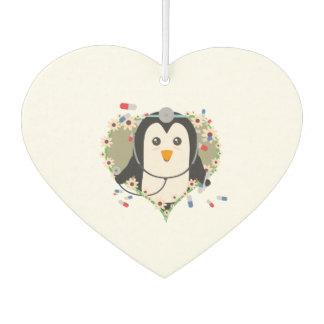 Penguin doctor with flower heart Zuq99 Car Air Freshener