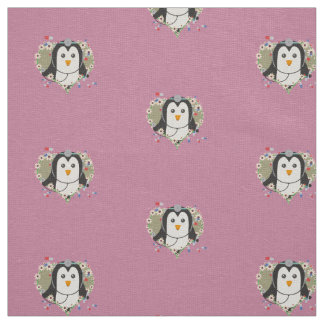 Penguin doctor with flower heart Zuq99 Fabric