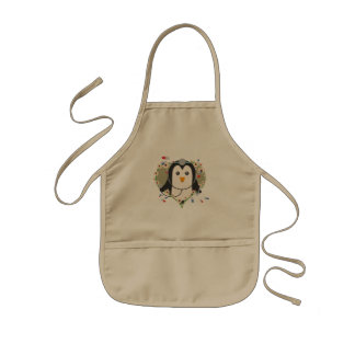 Penguin doctor with flower heart Zuq99 Kids Apron