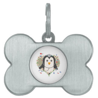Penguin doctor with flower heart Zuq99 Pet ID Tag