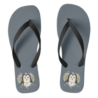 Penguin doctor with flower heart Zuq99 Thongs