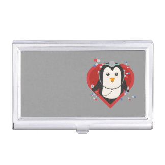Penguin doctor with heart Zal28 Business Card Holder