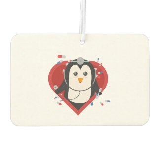 Penguin doctor with heart Zal28 Car Air Freshener