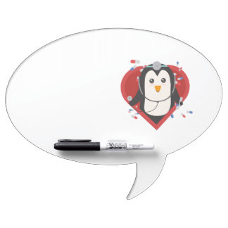 Penguin doctor with heart Zal28 Dry Erase Board