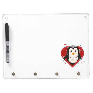 Penguin doctor with heart Zal28 Dry Erase Board With Key Ring Holder