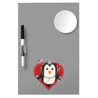 Penguin doctor with heart Zal28 Dry Erase Board With Mirror