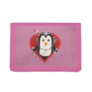 Penguin doctor with heart Zal28 Tri-fold Wallet