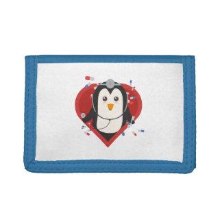 Penguin doctor with heart Zal28 Tri-fold Wallets