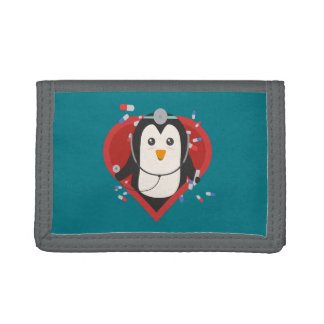 Penguin doctor with heart Zal28 Trifold Wallet
