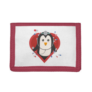 Penguin doctor with heart Zal28 Trifold Wallets