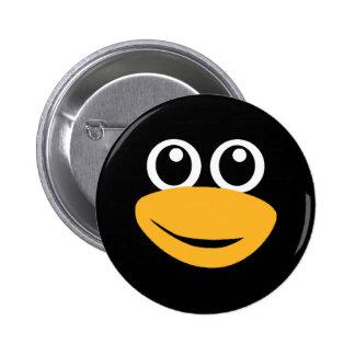 penguin face 6 cm round badge