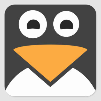 Penguin Face Square Sticker